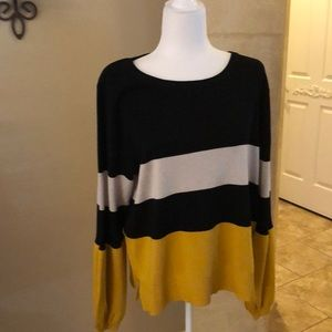 INC Brand Striped Sweater with Fun Sleeves XL